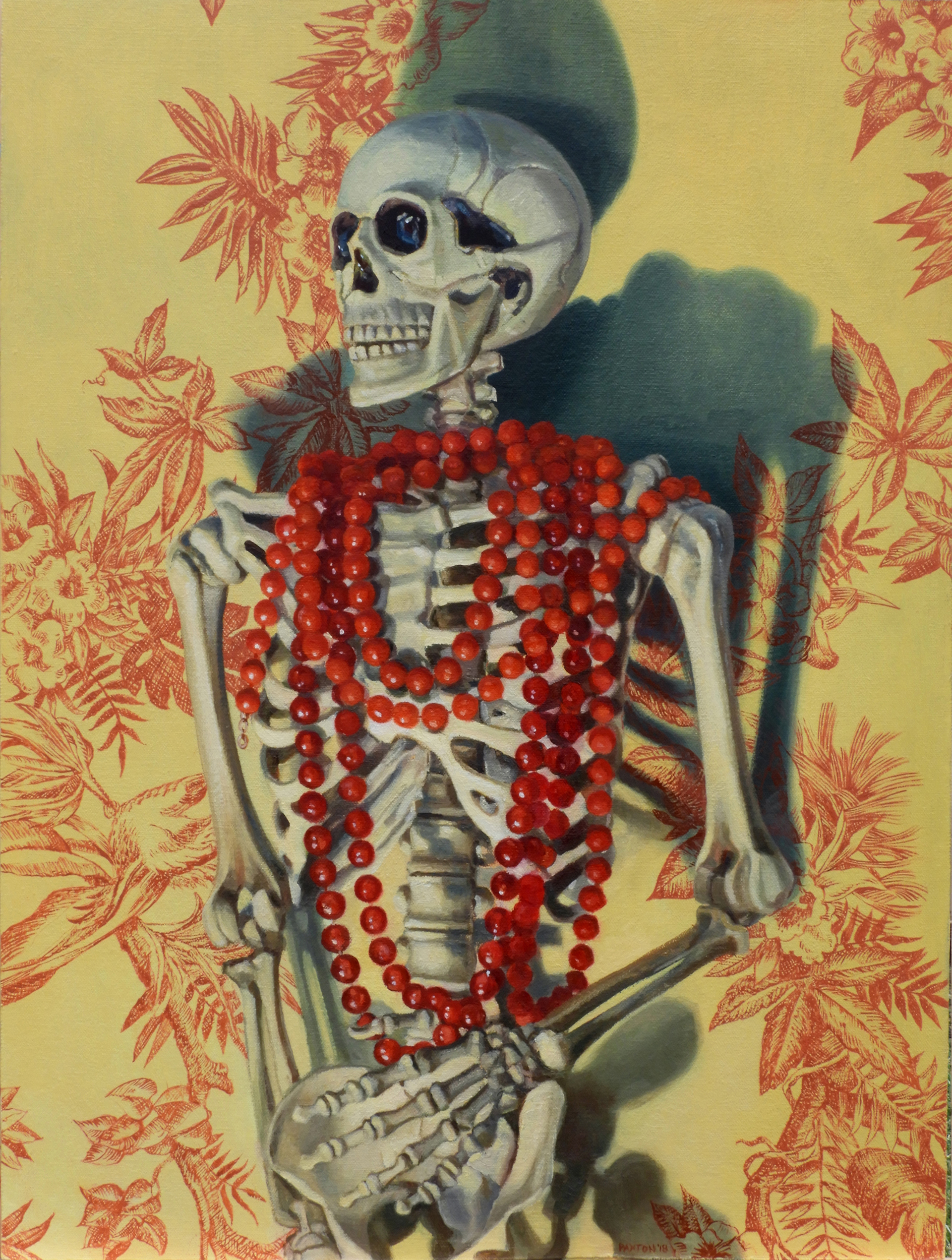 Maureen Paxton oil painting of skeleton with red bead necklace standing against yellow wall with red floral pattern.