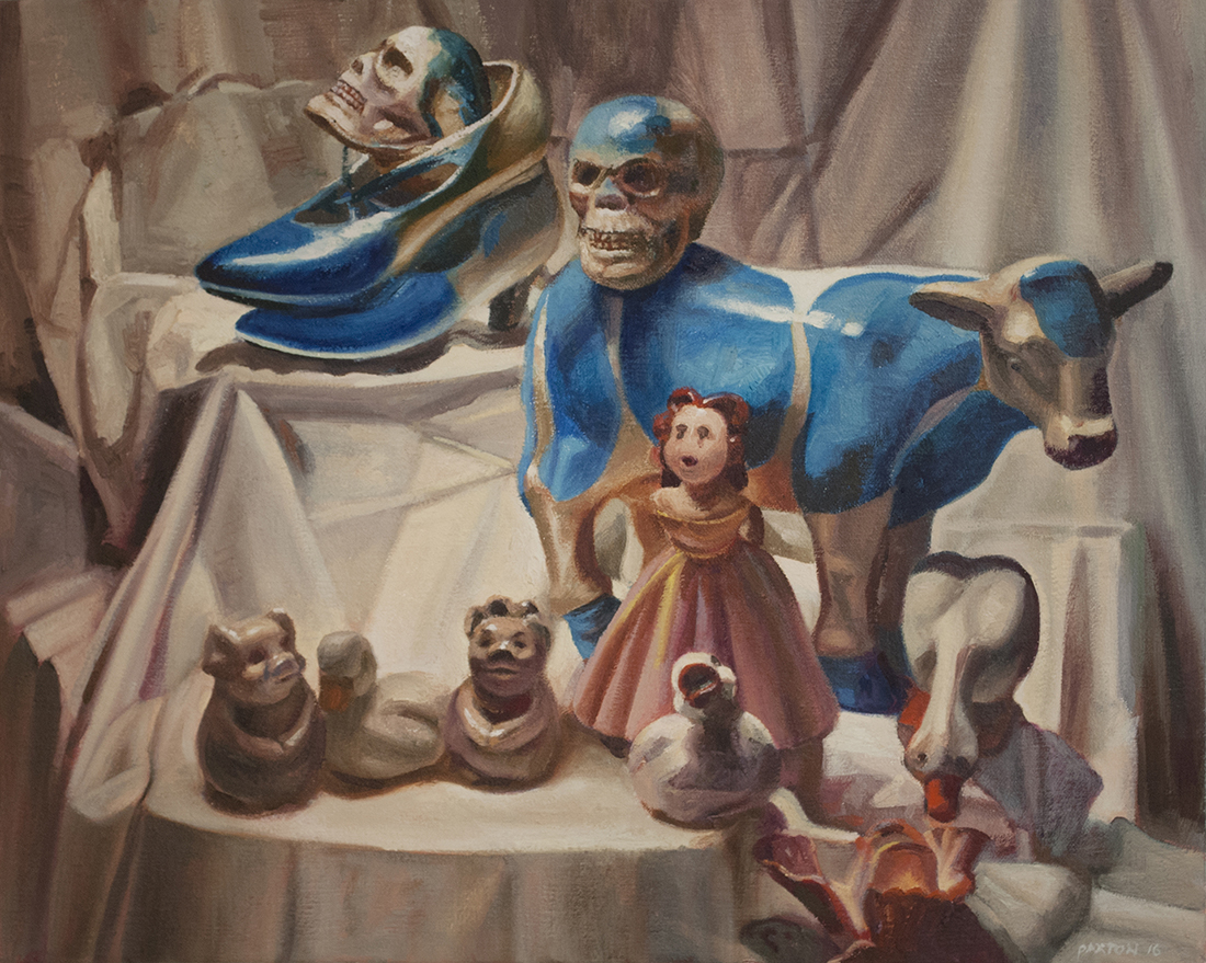 Oil painting by Maureen Paxton. A still life choir with cow, girl, geese, pigs, shoes and skull tiered on drapery.