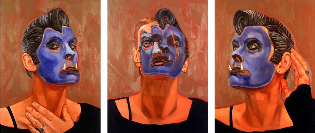 Maureen Paxton oil painting of a woman with blue face paint, fangs, rubber Elvis wig, an imitation of a crested macaque (ape).).