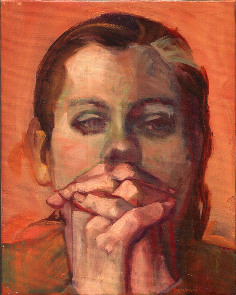 Maureen Paxton oil painting of a pensive-looking woman, hands clasped in front of her face.