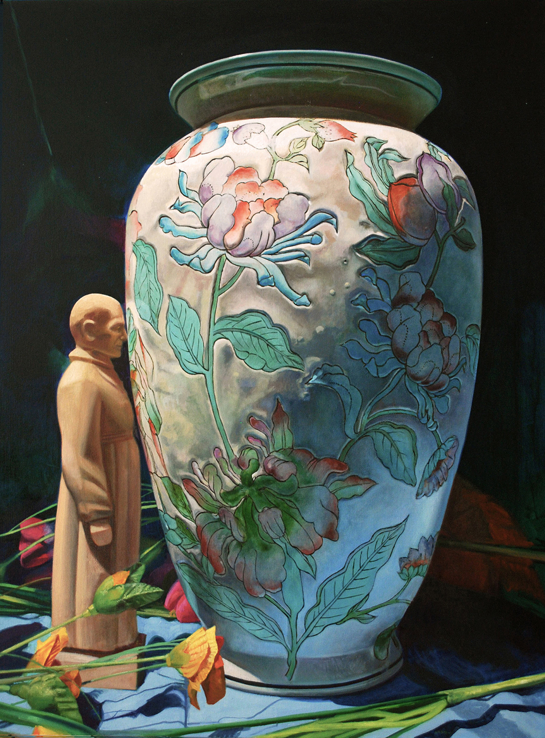 Maureen Paxton oil painting of a small priest standing, forehead touching, against a large Chinese vase decorated with flowers