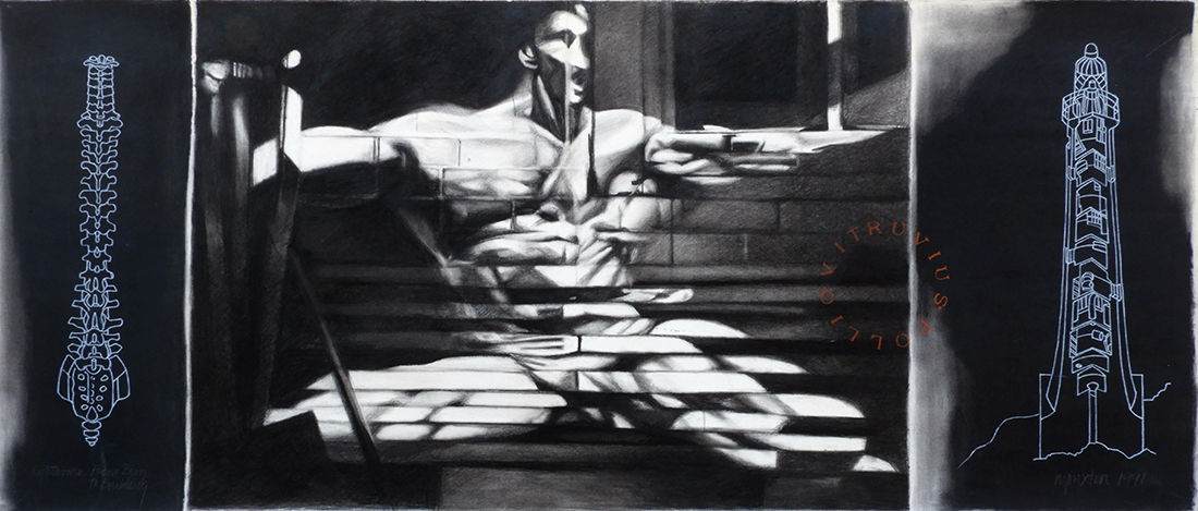 Graphite drawing of a body-builder's image projected onto a brick wall at night. Side panels show a line drawing of human spine and cut-away of a lighthouse.