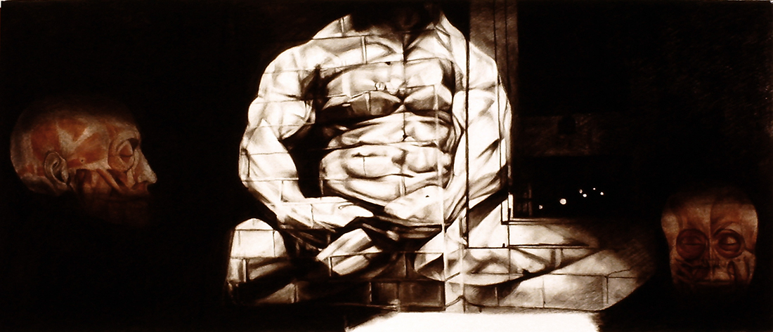 Graphite drawing of a body builder projected onto a brick wall, flanked by two heads with musculature showing.