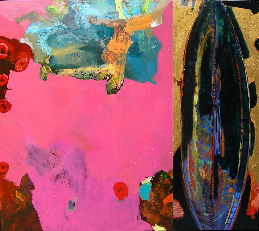 Maureen Paxton painting called Lingam - Diptych Oil and wax and resin on canvas 48 x 54 inches, 2005 .jpg