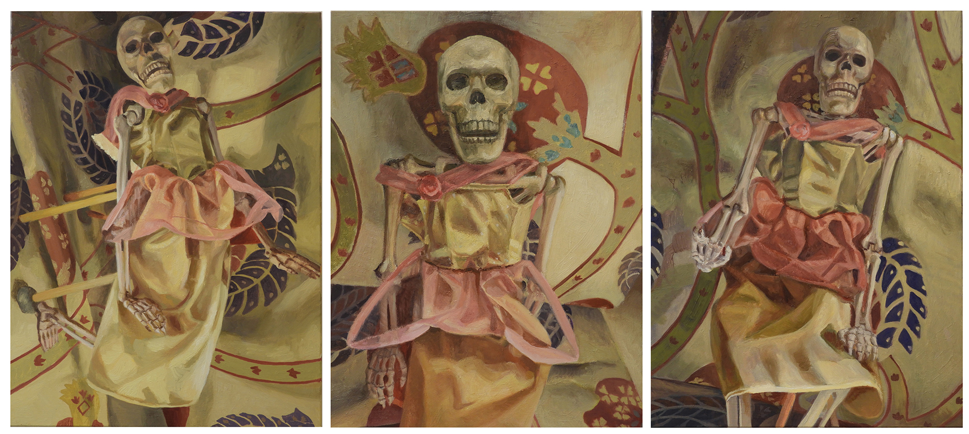 An oil-painted triptych on hardboard showing a small skeleton wearing a Barbie doll gown