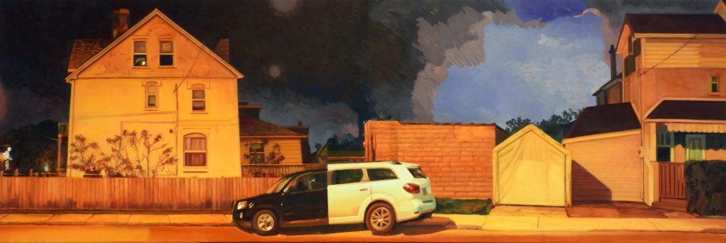 Maureen Paxton oil painting of a street at night, with a car composed of two car halves. A tear in the sky; daylight showing through.
