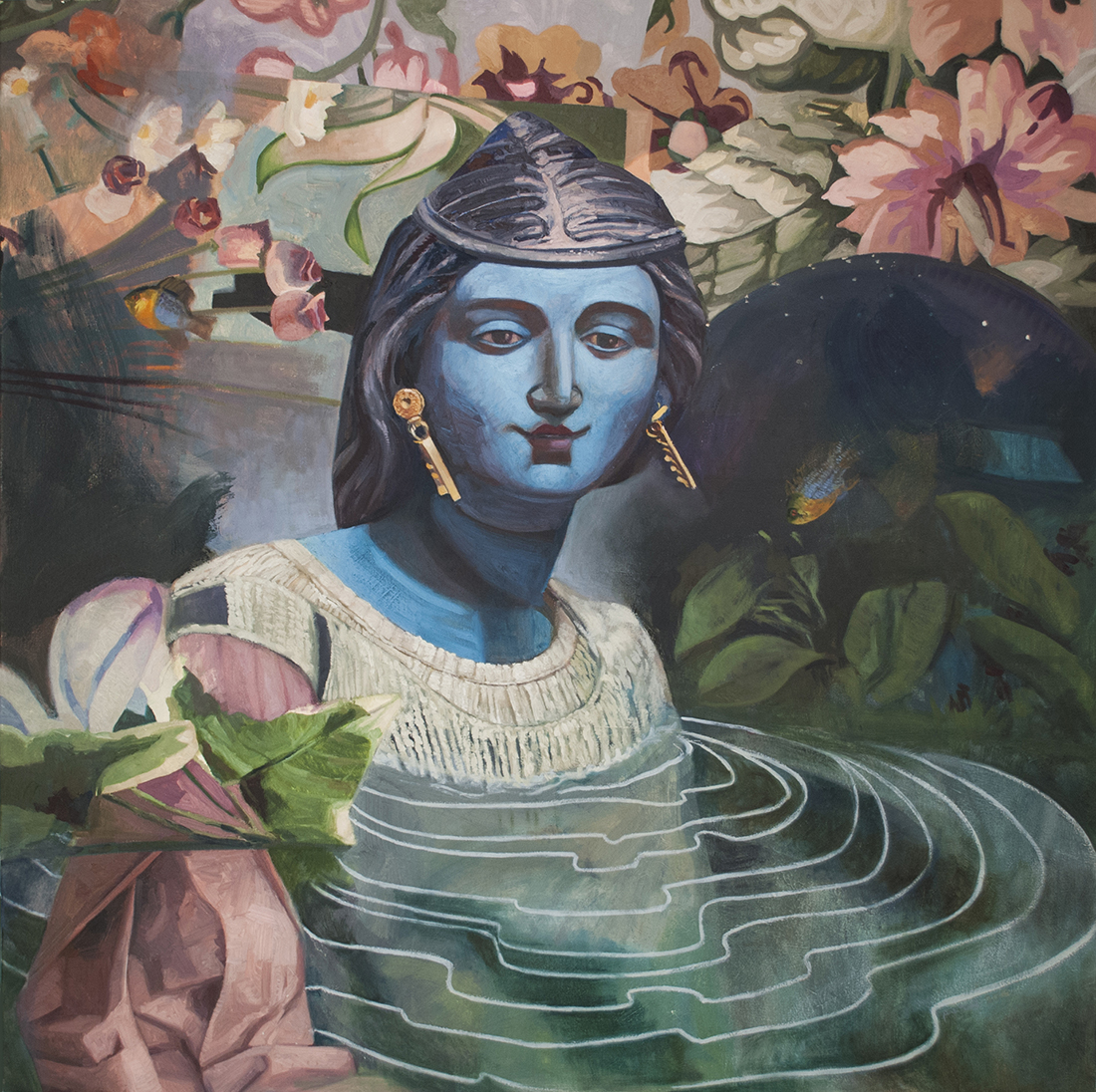 A blue-faced woman, small smile, surrounded by flower-like shapes; suggestion of pond; sits at centre of rippled water.