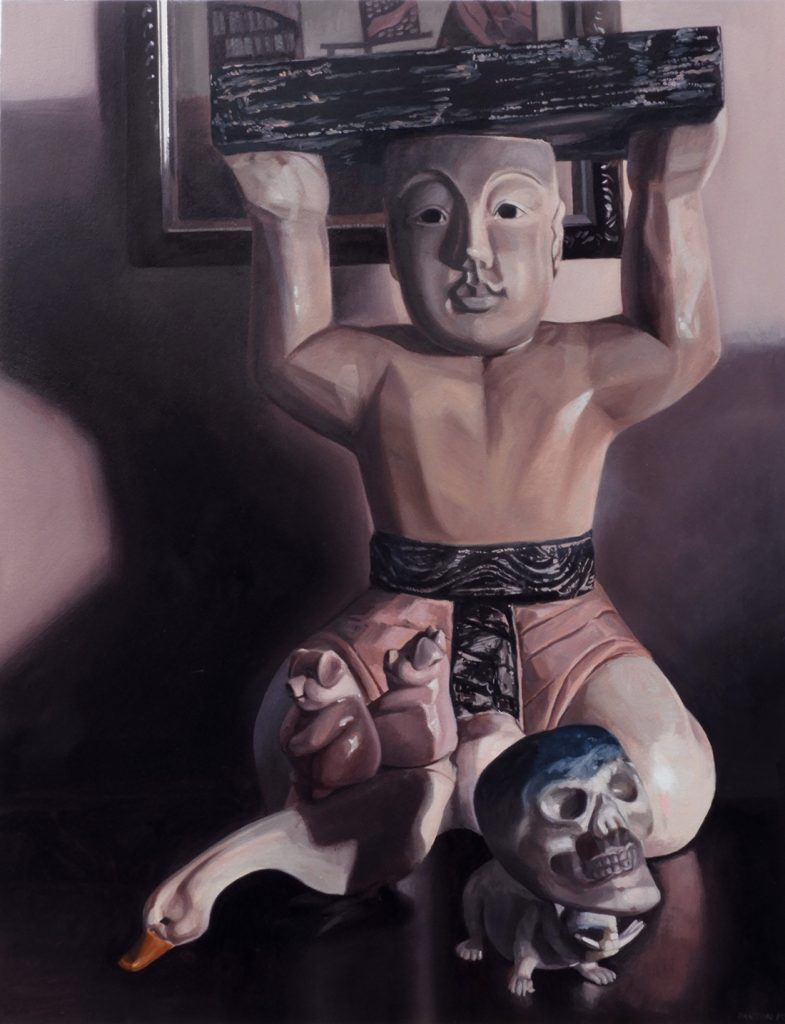 Maureen Paxton oil painting of a wooden Chinese figure along with several small figures; a goose, two pigs, a plastic rat and skull
