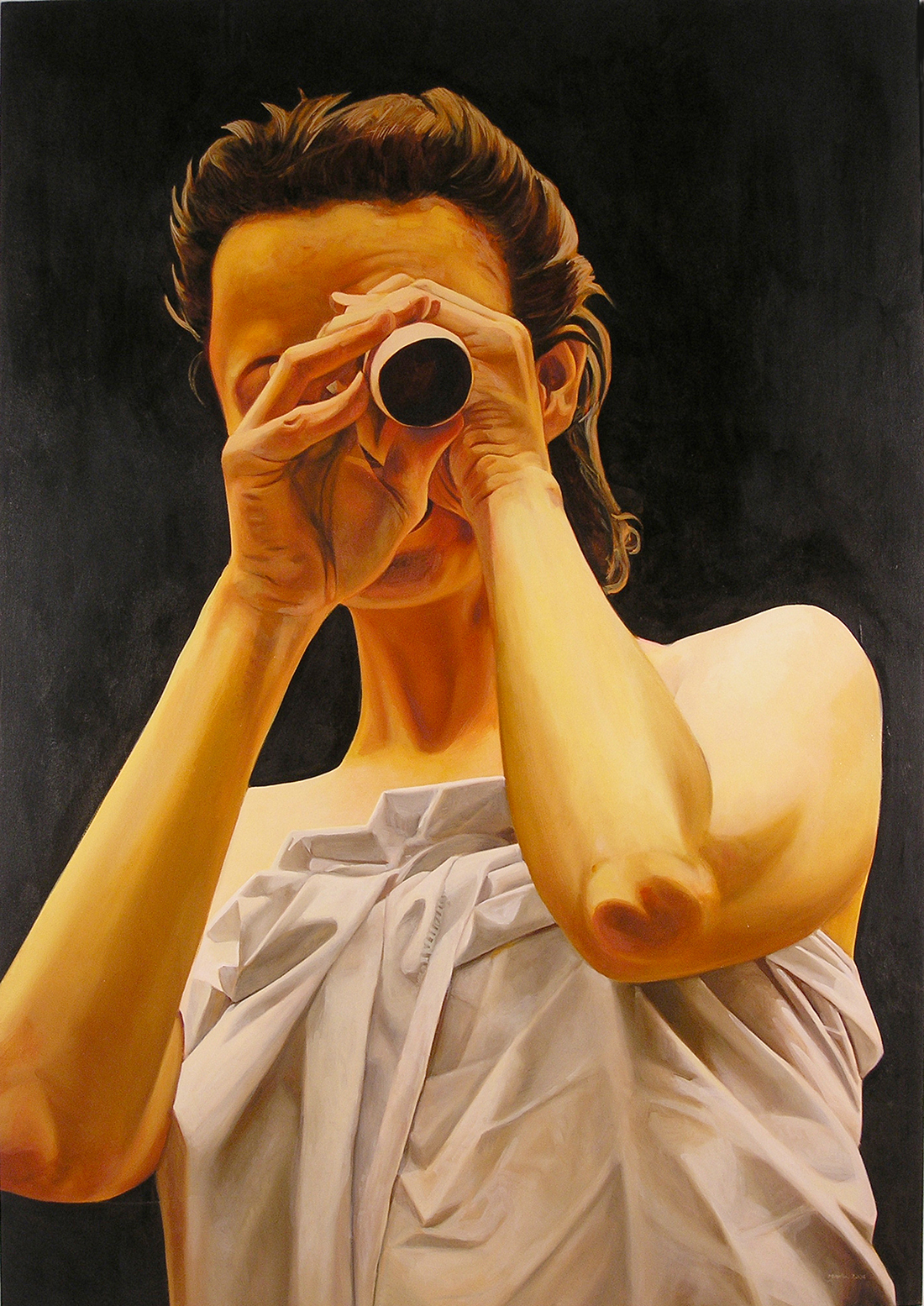 Oil painting of woman looking out at viewer through a tube (a spyglass).