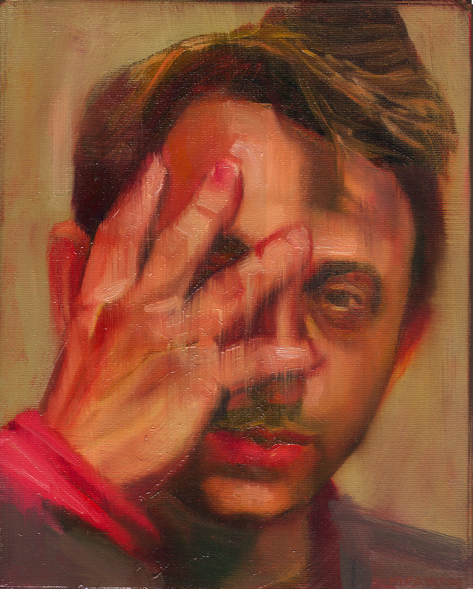 Maureen Paxton oil painting of a young man, holding hands, fingers open, over his face. He peeks through his fingers.