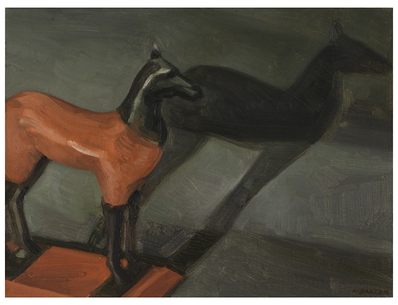 Artwork by Maureen Paxton, a small study, oil on panel, of a horse figurine against a backdrop, its shadow prominent.