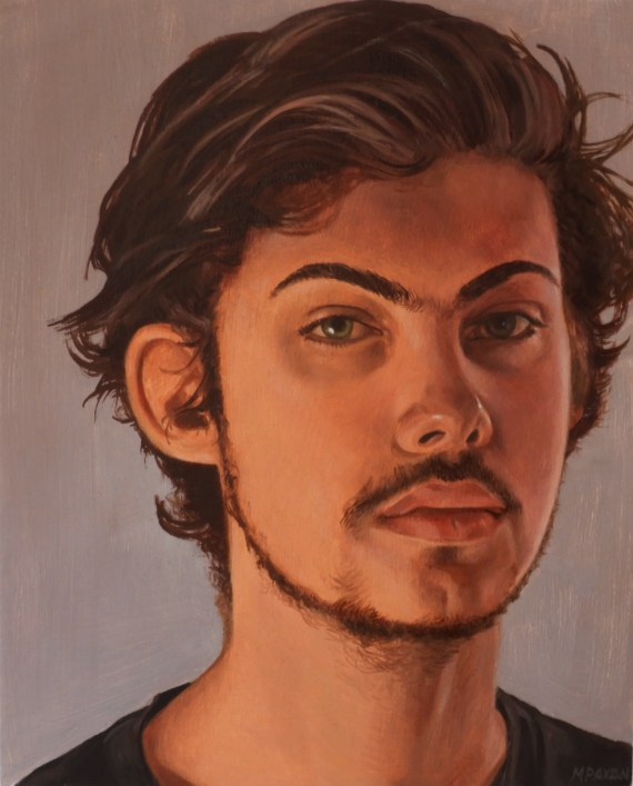 Artwork by Maureen Paxton, an oil portrait on canvas of a handsome young man.