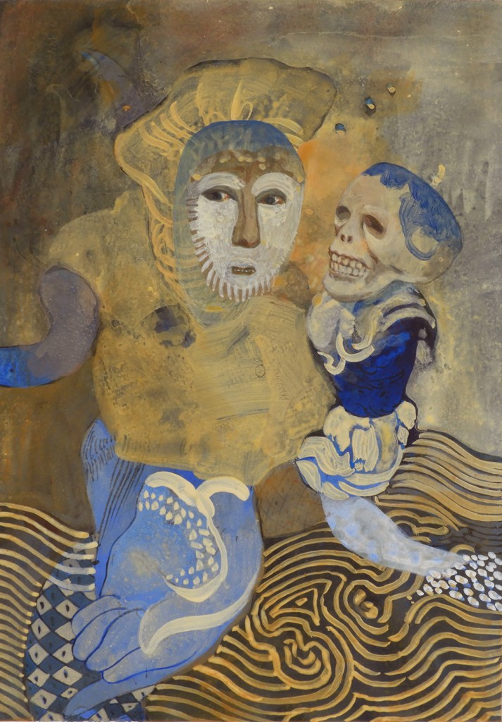 A small study of two figures in gold and blue and brown; a semi-abstract.