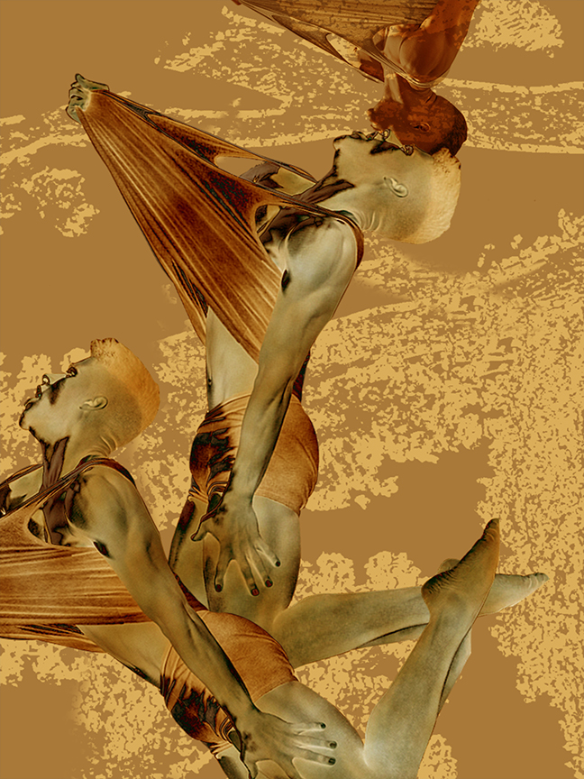 Artwork by Maureen Paxton. Drawing and painting. A digital collage showing two male bodies, buoyed in golden water or light. Palette is gold and red.