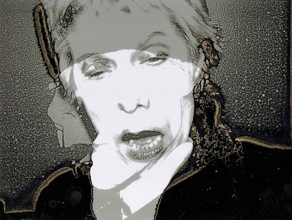 Artwork by Maureen Paxton: a self-portrait, two photographs superimposed, with random texture