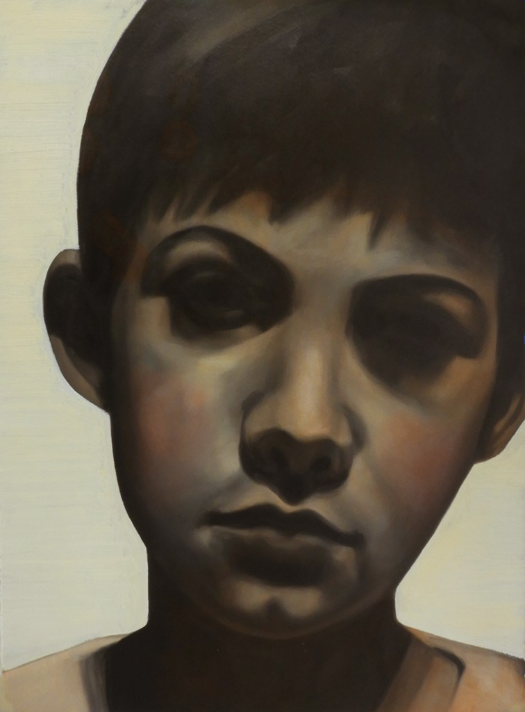 A small study of a boy's head, oil paint on Arches Huile paper, limited palette