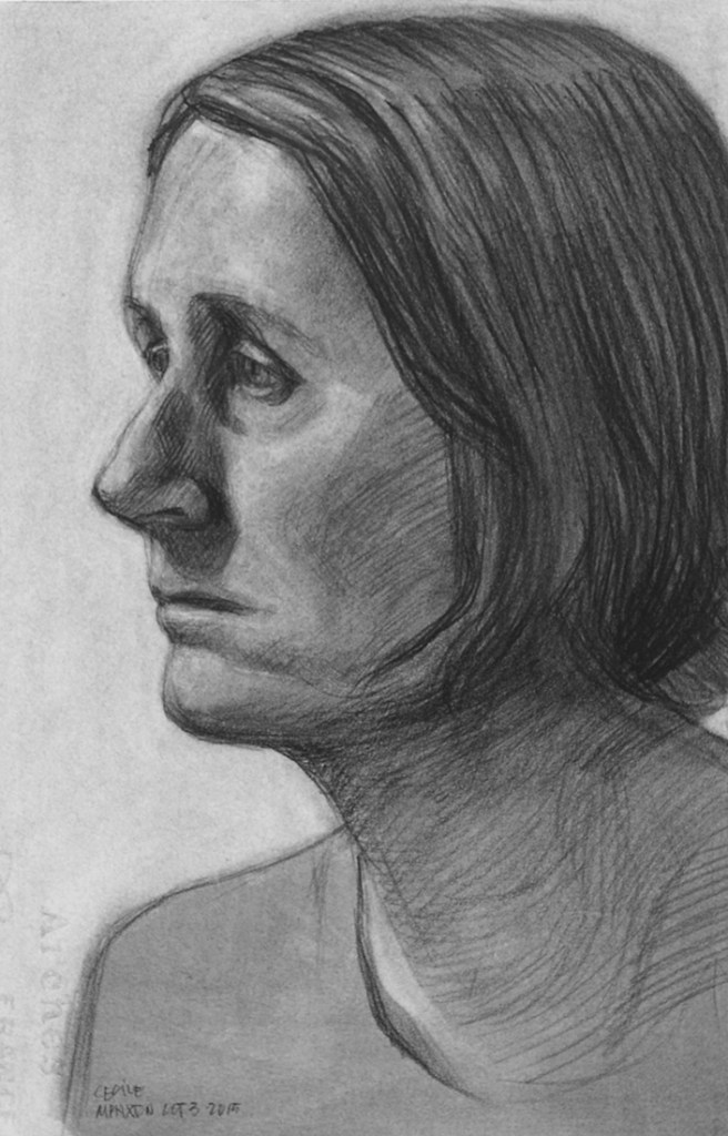 Artwork by Maureen Paxton. A small study of a woman in near profile, looking left