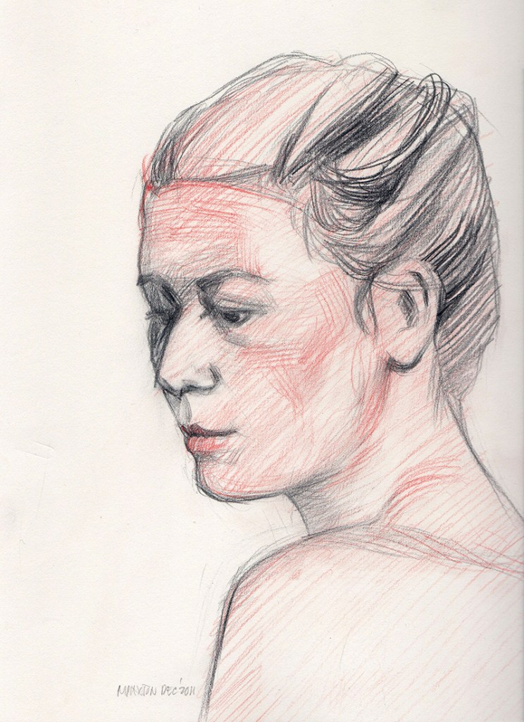Artwork by Maureen Paxton. A small study of a woman's head, red and black coloured pencil, hair upswept and shoulder bare.