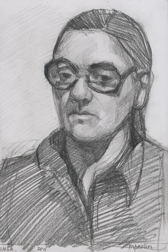 A small study of a bust, a woman with glasses and hair drawn-back, executed in pencil on paper