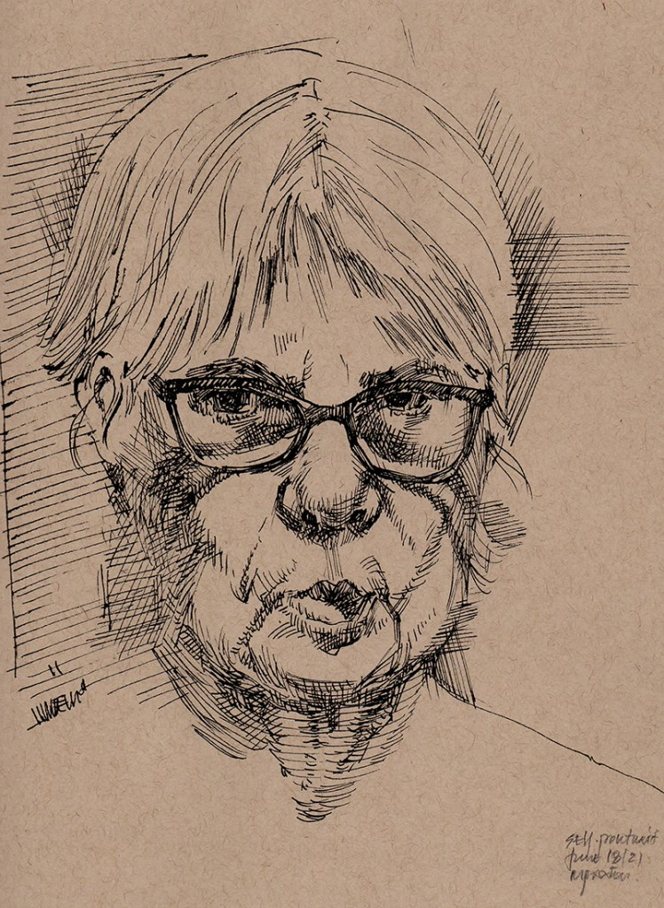 Artwork by Maureen Paxton. A small study, a self-portrait of the artist done with ink on toned paper, 9 x 12 inches, 2021